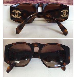 Chanel Tortoise Frame Logo Sunglasses w/ Case